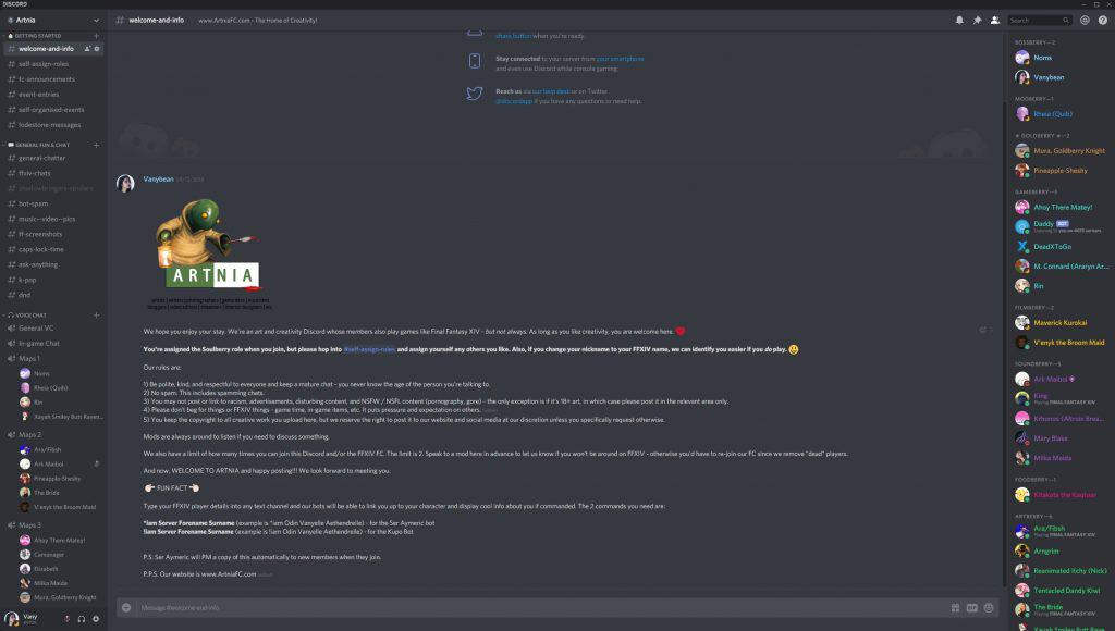 Artnia Discord Server being used during FFXIV treasure map events