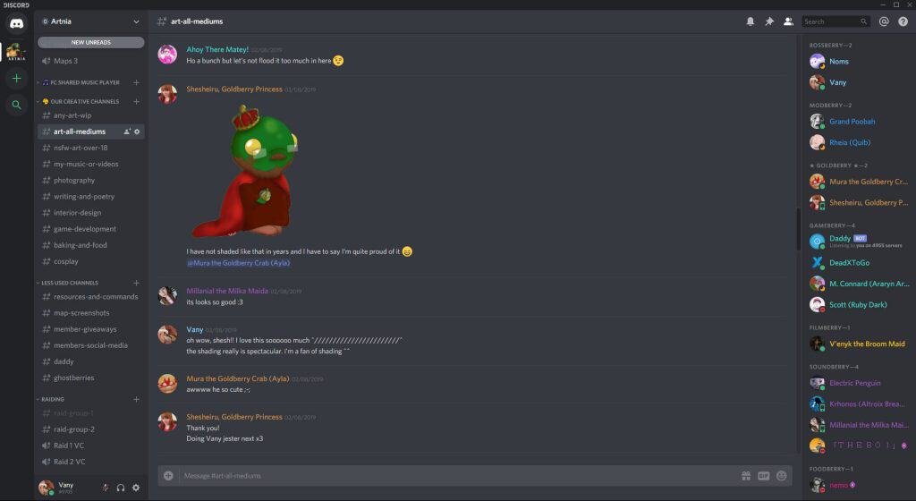 The Creative Channels part of Artnia's Discord server